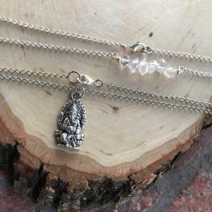 Silverskylight Jewelry - Two necklaces set herkimer diamonds & Ganesh charm